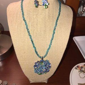 Lia Sophia set necklace earrings blue and green